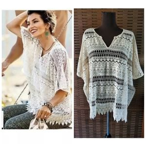 Cabi Capri Lace Crochet OpeN Knit Cover Up Top